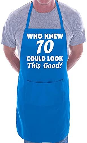 XIEYI 70 Ans Anniversaire Qui Sait 70 Barbecue culinaire intéressant Collier Rose-Taille Unique_Bleu