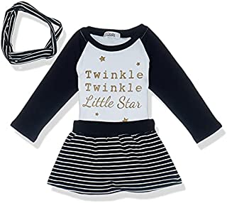 Giggles Round-Neck Raglan Contrast Long Sleeves Top with Elastic Waist Striped Skirt and Headband for Girls