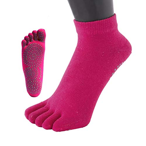 Toetoe Socken mit Zehentrenner für Yoga und Pilates, rutschfeste Profilsohle, wadenhoch, Größe 39–43, Fuchsia