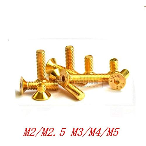 10-20Pcs M2 M2.5 M3 M4 M5 Verzonken platte kop Hex Hexagon Socket Schroeven Gelegeerd staal Titanium Plating Gold Screw, M2.5x8mm (FT) 20PCS