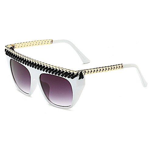 Belleashy Gafas de Sol para Mujer Personalidad Cadena de Gran tamaño Decoración Gafas de Sol de Mujer Estilo Retro Grande Protección UV al Aire Libre for Conducir Vacaciones Verano Playa Ropa Diaria