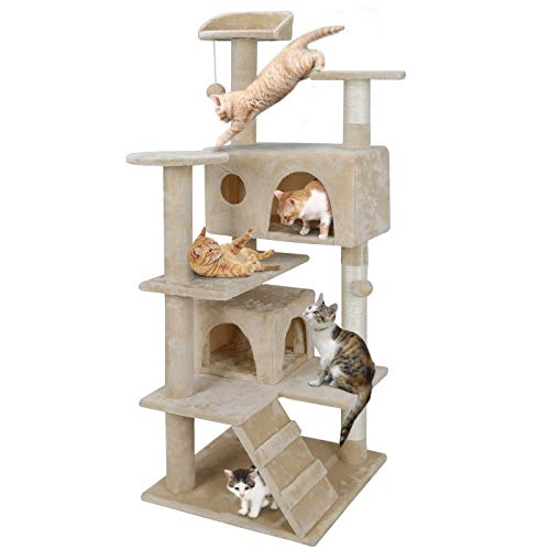 Nova Microdermabrasion 53 Inches Multi-Level Cat Tree Stand House Furniture Kittens Activity Tower with Scratching Posts Kitty Pet Play House (Beige)