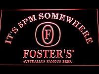 Foster's It's 5pm Somewhere LED看板 ネオンサイン ライト 電飾 広告用標識 W30cm x H20cm レッド