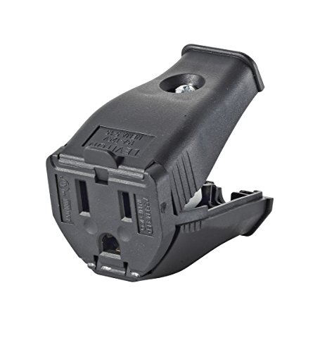 Leviton 3W102-E Clamptite Hinged Cord Outlet, 2-Pole, 3-Wire, 125V, 15A, Thermoplastic, Black