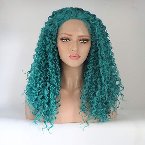 Perruques pour femmes, Perruque frisée bleue de paon de petit volume, Couvre-chef 20inch de dentelle de fibre de soie de rouleau de soie à hautes températures