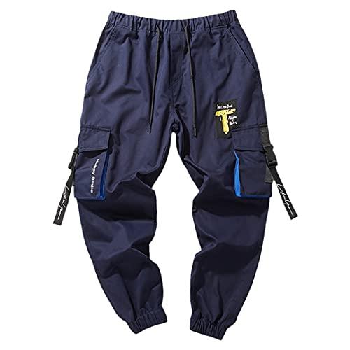 GYSAFJ Pantalones deportivos para hombre para pantalones de correr casuales pantalones de jogging pantalones de bolsillo, Azul / Patchwork, 6X-Large