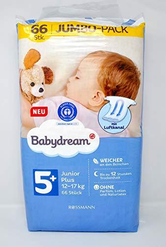 babydream - Pannolini Junior plus Jumbo, taglia 5+, 13-27 kg, sottili per una libertà di movimento ottimale, in tessuto non tessuto, per sicurezza di giorno e notte, superficie morbida