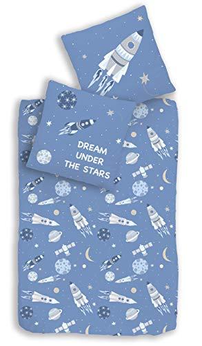 Rakete Bettwäsche Set 2 teilig blau · Kinder-Bettwäsche für Jungen & Mädchen · Weltall, Planeten & Universum - Kissenbezug 80x80 + Bettbezug 135x200 cm - 100% Baumwolle