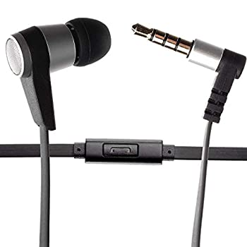 Single Earbud Stereo-to-Mono Headphone w/Mic  Black/Silver  Aluminum with Rubberized Ribbon Cable