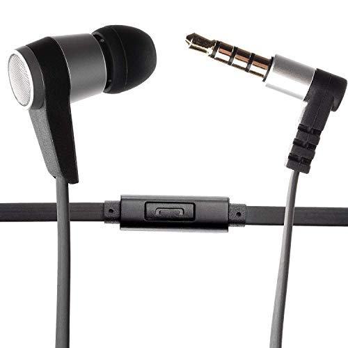 Single Earbud Stereo-to-Mono Headphone w/Mic (Black/Silver), Aluminum with Rubberized Ribbon Cable