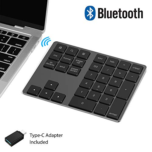 VOAMOKO Wireless Bluetooth Numeric Keypad - Compatible with Apple Mac and Windows Laptop - 34 Keys with Shortcuts, Stable Connection - Rechargeable Data Entry, Work, Office Device - Long Battery Life