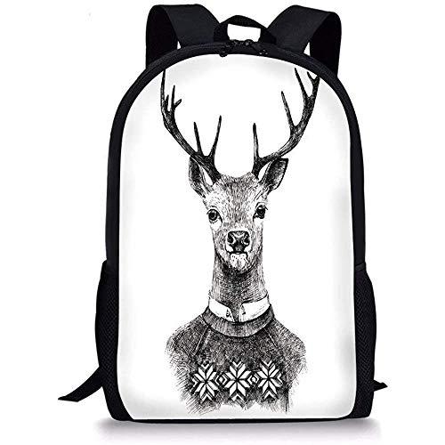 Hui-Shop Mochilas Escolares Indie, Retrato de Ciervo Dibujado a Mano en un...