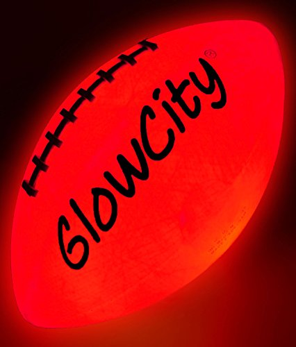 GlowCity Glow in The Dark Football - Light Up Balls for Kids, Teens and Adults - LED Lights and Pre-Installed Batteries Included - Official Size Footballs