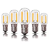 Low Voltage AC/DC 12-24V Bombilla LED para candelabro de filamento 1W T22 E14 Vintage Tubular Bombilla de luz nocturna Blanco cálido 2700K, equivalente a 10 vatios no regulable, paquete de 5
