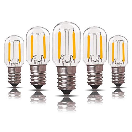 Genixgreen Niederspannungs-AC/DC 12-24 V LED-Filament-Kandelaberbirne 1W T22 E14 Kandelabersockellampe Vintage Röhren-Nachtlichtbirne Warmweiß 2700K, 10 Watt Äquivalent Nicht dimmbar, 5er-Pack