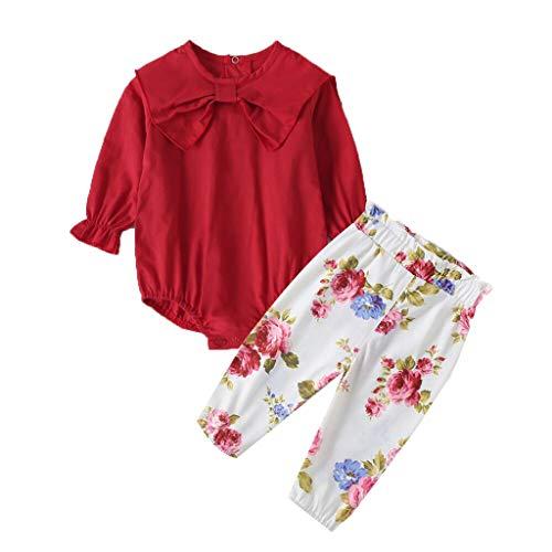 Ensemble de Pyjama Bébé Fille Vêtements de Nuit Enfants Garçon Barboteuse Imprimé Fleur Pantalons Combinaison Hiver 2PC Ensembles Manche Longue Tops Romper Sleepsuit Pas Chère (6-9 Mois)