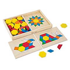 Educational wooden block set: The Melissa & doug pattern blocks and boards classic toy is a set of 120 wooden blocks in various shapes and colors, inspiring kids to assemble colorful patterns on 5 boards Classic learning activity: Our pattern blocks ...