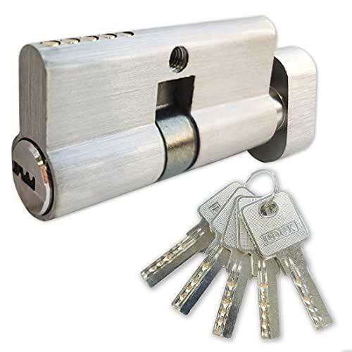 Schließzylinder aus Messing, 30/30 mit 5 Messing-Schlüsseln, Profil-Knaufzylinder, Wendeschlüssel, Zylinderschloss,Türschloss Ersatzzubehör, Schließzylinder Gleichschließend,Sicherheitsschloss Haustür