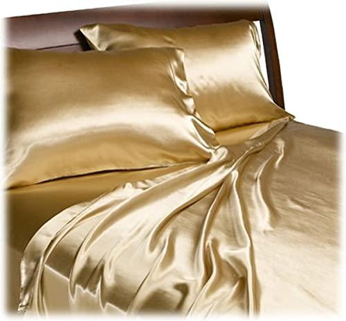Divatex Home Fashions Royal Opulance - Juego de sábanas para Cama de Matrimonio (satén), Color Negro