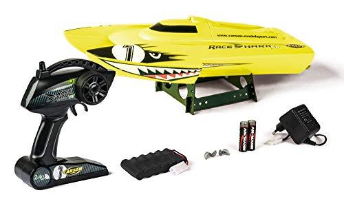 Carson 500108029 Race Shark FD 2.4G 100% RTR Gelb- Ferngesteuertes RC Boot-LED Beleuchtung-Sicherheitsschaltung-500108029