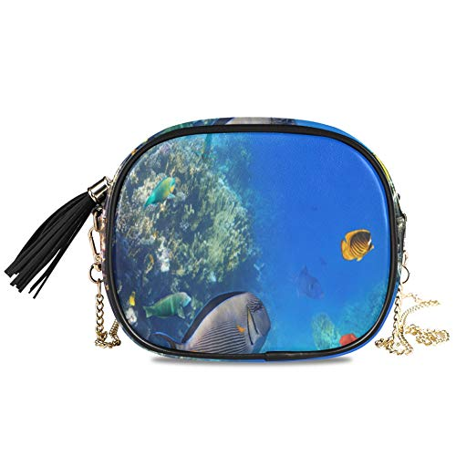 WYYWCY Colorido Coral Reef Exotic Fish Red Mujeres de noche Bolsos cruzados para niñas Fiesta formal Bolso para damas Bolso para mujer Decoración para niñas Monedero con cadena 7.48x5.9x3.54 pulgadas
