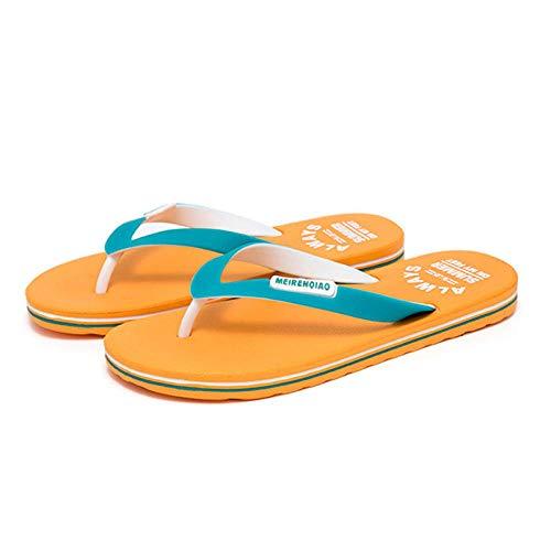 YYFF Chanclas Mujer Verano,Casual Flip Flops,Non-Slip Fashion Sandals-Orange_42,Hombres Mujeres Sandalias