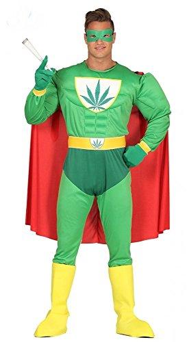 shoperama Herren-Kostüm Marihuana Hanf Superheld mit Muskeln Superhero Erwachsene JGA Karneval Junggesellenabschied, Größe:L