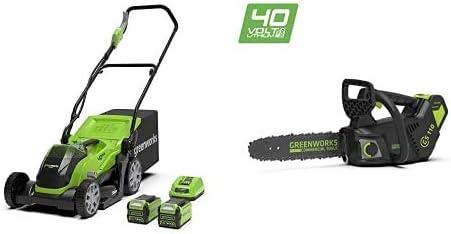 Greenworks Cortacésped inalámbrico 35 cm + Motosierra Inalámbrica