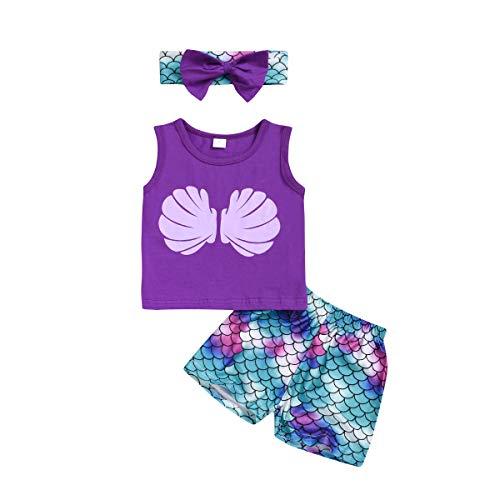 1-3T Baby Meisjes Zeemeermin Outfits Shell Tops Schaal Korte Broek Sets