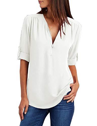 Tuopuda Bluse Donna Camicette Camicia Chiffon Scollo T-Shirt Camicie Felpa Donna Magliette Manica Lunga Cerniera Eleganti Casual Taglie Forti Sciolto Tunica Pullover Top