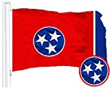 G128 - Tennessee State Flag 3x5ft Embroidered Stars Sewn Stripes with Brass Grommets - Tennessee Flag State of Tennessee Flag