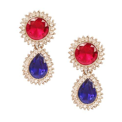Touchstone Pendientes de araña de estilo indio, hechos a mano, estilo contemporáneo, con cristales de estrás, tono dorado y plateado para mujer.
