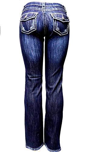 Jully-M Premium Sexy Women's Curvy Basic Bootcut Blue Denim Jeans Stretch Pants (1, Clash Jeans LP5189 Blue)