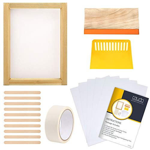 Caydo 10 x 14 Inch Aluminum Silk Screen Printing Frame with 110 White Mesh and 9.4 Inch Aluminum Screen Printing Squeegee