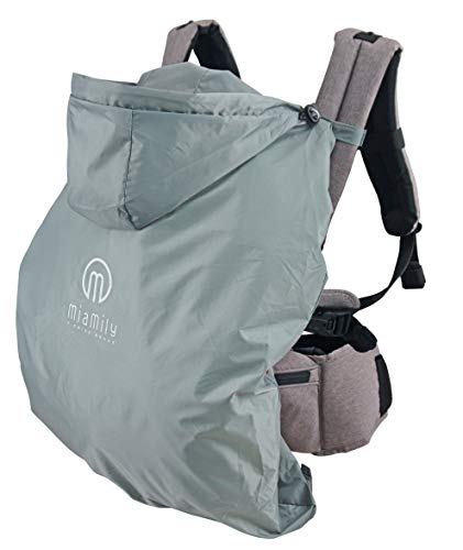 MiaMily Universal Summer Cover for Wind and Rain, with Hood, Universal, Waterproof and Windproof Baby Carrier Cover, Grey