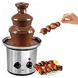 Fontana di cioccolato in acciaio inox con cascate extra lisce per immergere vari tipi di frutta e biscotti con vaso profondo di raccolta