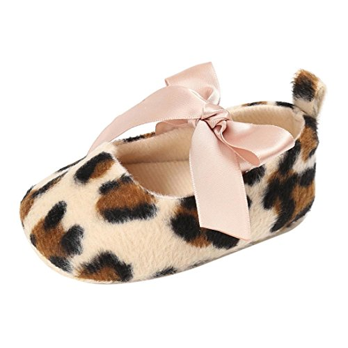 Babyschuhe Longra Baby Kleinkind Mädchen Nette Leopard Print Krippe Schuhe Soft Prewalker Soft Sole Anti-Rutsch Schuhe (11CM 0~6 Monate, Khaki)
