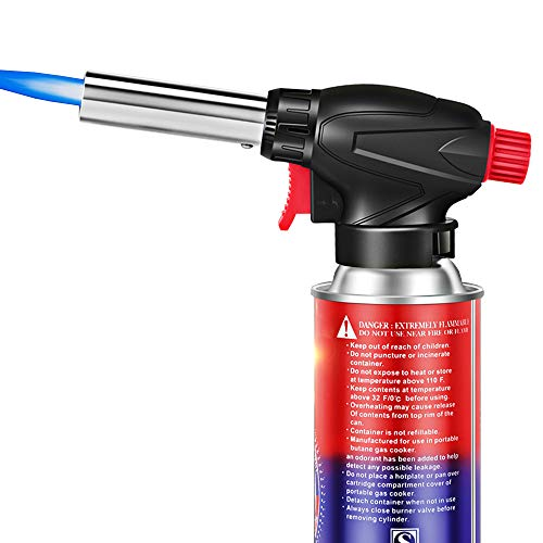 Butane Torch Kitchen Blow Lighter Gas burner - Culinary Torches Chef Cooking Professional Adjustable Flame with Reverse Use, for Creme, Brulee, BBQ, Camp, Baking, Jewelry welding (Butane Not Included)