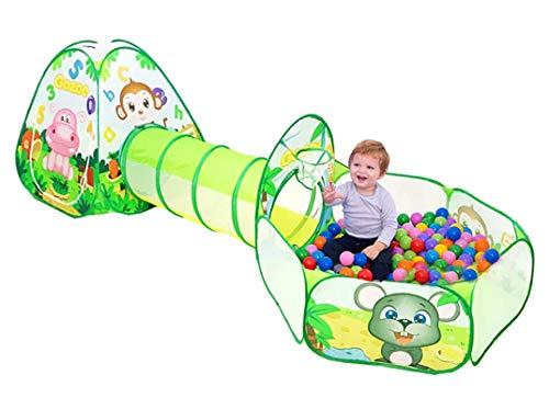 Beneyond tendone e Tunnel Pop-up per Bambini,Giocattoli per Tende Pop-up 3in1 Pieghevoli Set-Set,casetta da Giardino Zoo per Bambini Coperta/Scoperta,Tunnel del Pit Ball della casetta dei Bambini