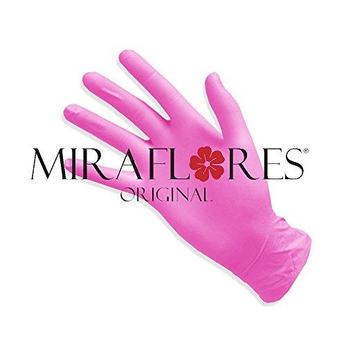 Miraflores Original Gants à usage unique en nitrile rose–Pack de 100gants–disponibles tailles S et M–Gants jetables sans latex–Sans poudre et hypoallergénique M