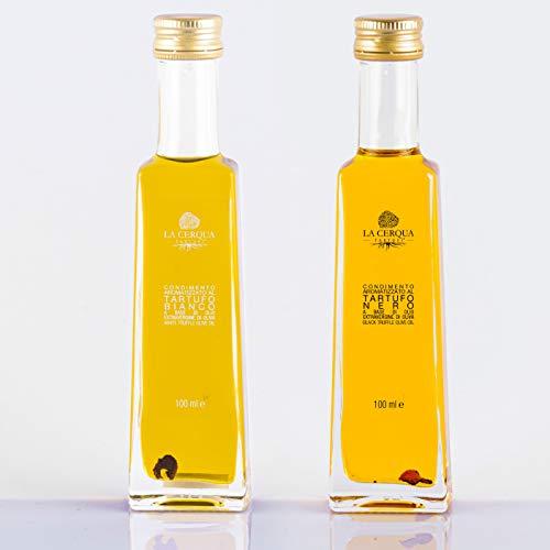La Cerqua Olio al Tartufo Set Regalo (2 X 100 ml) Fette di Tartufo in Bottiglia - Condimento al Tartufo Bianco e Nero - Olio di Oliva Spremuto a Freddo - Gustosi Condimenti