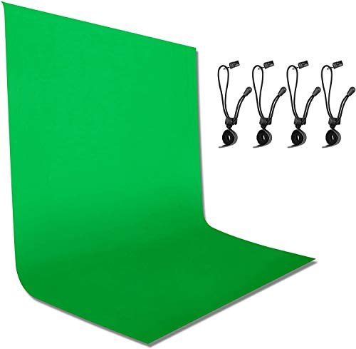 Emart 6 x 9 ft Photography Backdrop Background, Green Chromakey Muslin Background Screen for Photo Video Studio, 4 x Backdrop Clip