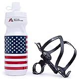 Active Adventure 3-in-1 Bike Water Bottle Holder with Bottle and Versatile Bike Mount. Black Bicycle Water Bottle Cage, Bike Bottle Cage Adapter and Cycling Bottle. Mountain or Road Bike Accessories