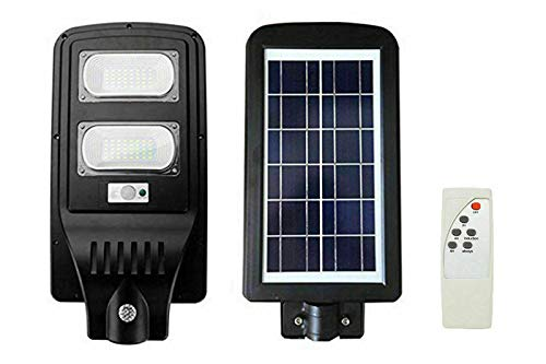 REPLOOD Farol de carretera de LED 60 W crepuscular con panel solar + mando a distancia