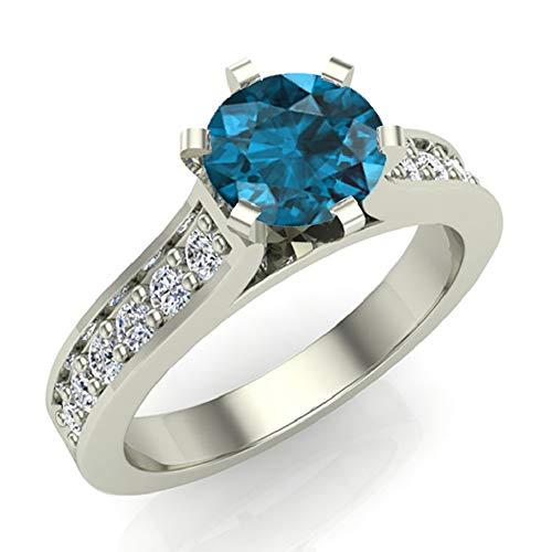 Anillo de compromiso de diamantes blancos naturales y azules de 1,10 quilates en oro blanco de 14 quilates (tamaño del anillo 9)