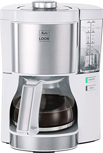Melitta Look Perfection 1025-05 ekspres do kawy z filtrem, szklanym dzbankiem, zdejmowanym zbiornikiem na wodę i programem odkamieniania (biały), tworzywo sztuczne, 1,25 litra