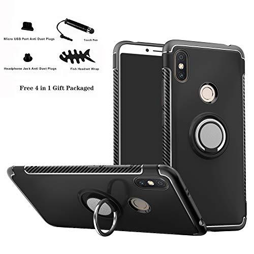 Labanema Xiaomi Redmi S2 Funda, 360 Rotating Ring Grip Stand Holder Capa TPU + PC Shockproof Anti-rasguños teléfono Caso protección Cáscara Cover para Xiaomi Redmi S2 (Redmi Y2) - Negro