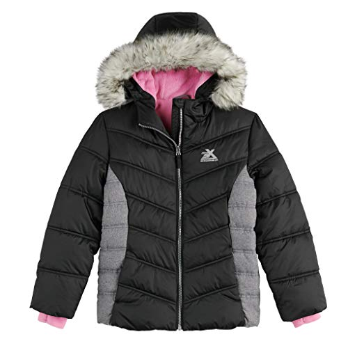 ZeroXposur Girls Jacket Midweight Puffer Winter Coats for Girls with Attached Hoodie (Colorblock, Black/Kobe Pink, 10/12)