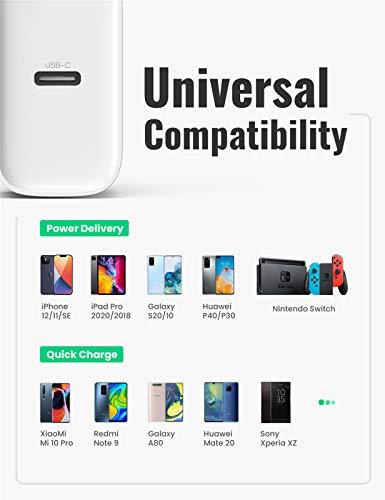UGREEN 20W USB C Ladegerät USB C Netzteil PD 3.0 USB C Power Adapter Ladestecker, kompatibel mit iPhone 12, 12 Pro,12 Pro Max, 12 Mini, 11Pro, SE 2020, X, iPad Pro 2020, Galaxy S21, S20, A51 usw.