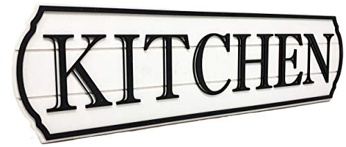 PLS Market Rustic Farmhouse Kitchen Sign decor Kitchen and dining room Sign Décor White with Black Letters Featuring Raised Letters (white with black letters, 24'x7')